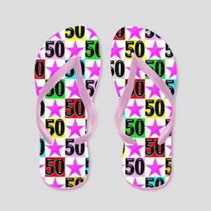 50th Pink Star Flip Flops