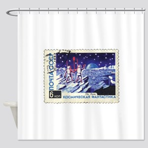 Sputnik Soviet Union Russian Space Shower Curtain