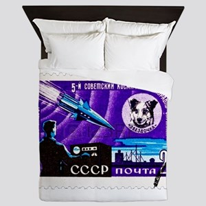 Sputnik Soviet Union Russian Space Roc Queen Duvet