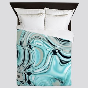 abstract turquoise swirls Queen Duvet