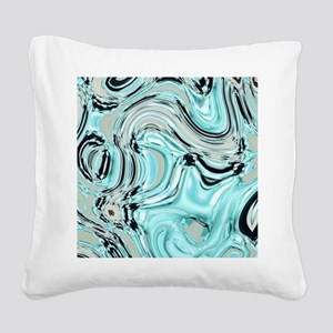 abstract turquoise swirls Square Canvas Pillow