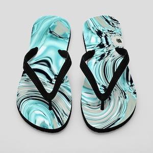 abstract turquoise swirls Flip Flops