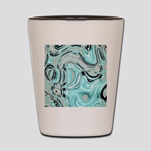 abstract turquoise swirls Shot Glass
