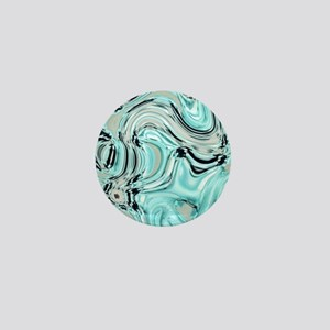 abstract turquoise swirls Mini Button
