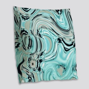 abstract turquoise swirls Burlap Throw Pillow