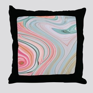 girly coral mint pattern Throw Pillow