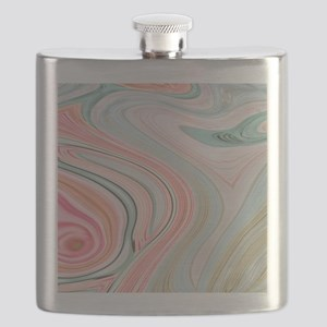 girly coral mint pattern Flask