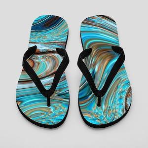 rustic turquoise swirls Flip Flops