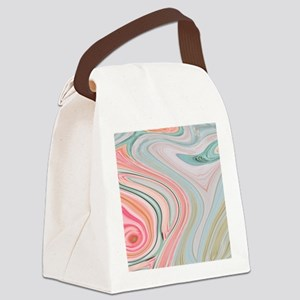 girly coral mint pattern Canvas Lunch Bag