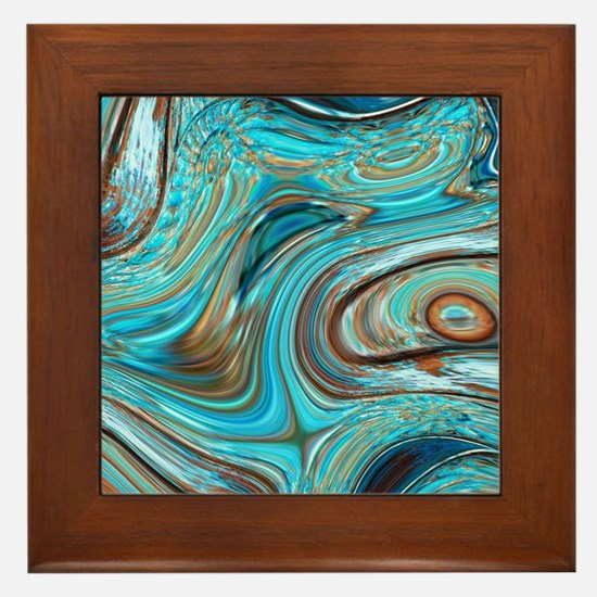 rustic turquoise swirls Framed Tile