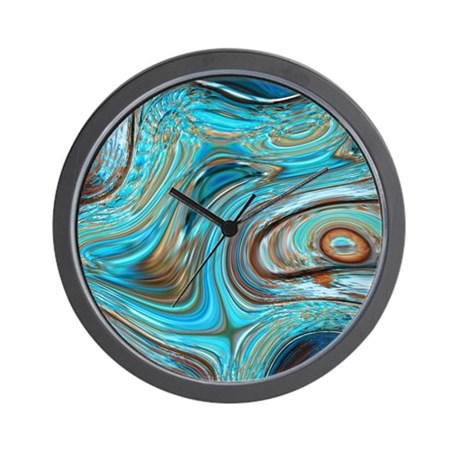 Turquoise Brown Wall Clocks CafePress