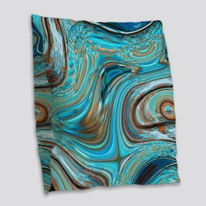 rustic turquoise swirls Burlap Throw Pillow
