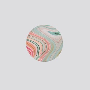 girly coral mint pattern Mini Button