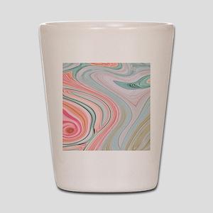 girly coral mint pattern Shot Glass
