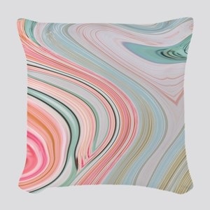 girly coral mint pattern Woven Throw Pillow