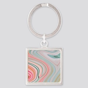 girly coral mint pattern Square Keychain