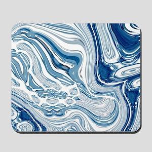 navy blue swirls Mousepad
