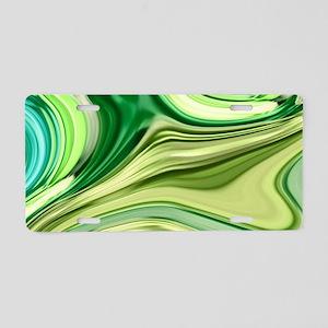 teal swirls mint green Aluminum License Plate