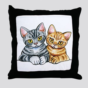 2 American Shorthair Throw Pillow