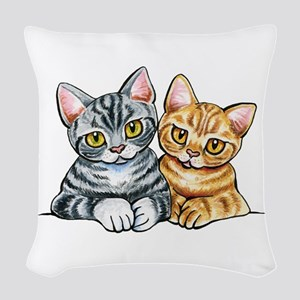 2 American Shorthair Woven Throw Pillow