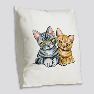 2 American Shorthair Burlap Throw Pillow