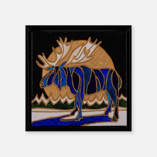 """Winter moose Square Sticker 3"""" x 3"""""""