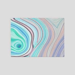 girly turquoise blue swirls 5'x7'Area Rug
