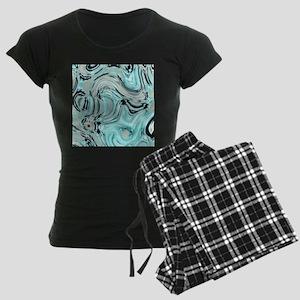 abstract turquoise swirls Women's Dark Pajamas