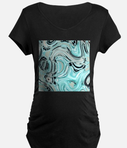 abstract turquoise swirls Maternity T-Shirt