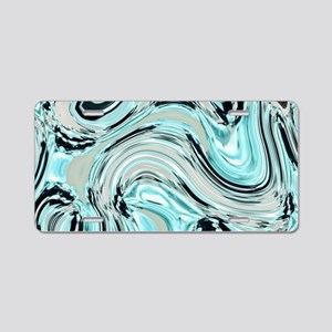 abstract turquoise swirls Aluminum License Plate