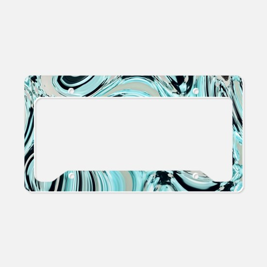 abstract turquoise swirls License Plate Holder