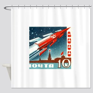 Sputnik Soviet Union Russian Space Shower Curtain