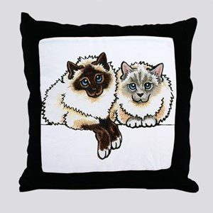 2 Birmans Throw Pillow