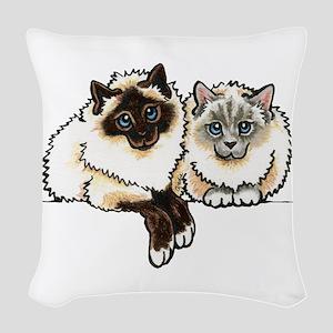 2 Birmans Woven Throw Pillow