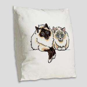 2 Birmans Burlap Throw Pillow
