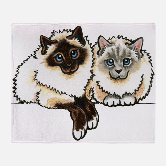 2 Birmans Throw Blanket