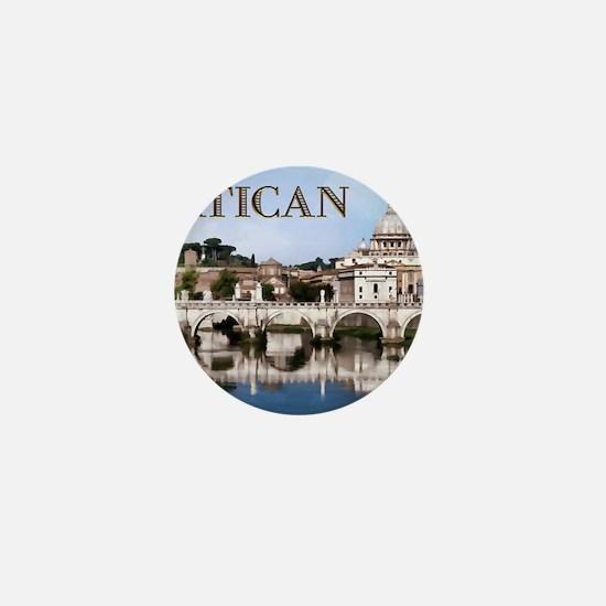 Vatican City Seen from Tiber River tex Mini Button