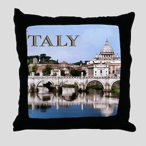Vatican City Seen from Tiber River te Throw Pillow