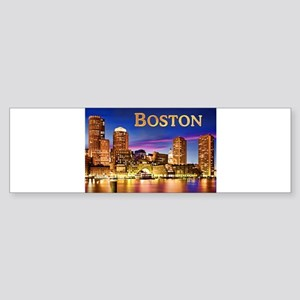 Boston Harbor at Night text BOSTON Bumper Sticker