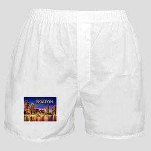 Boston Harbor at Night text BOSTON co Boxer Shorts