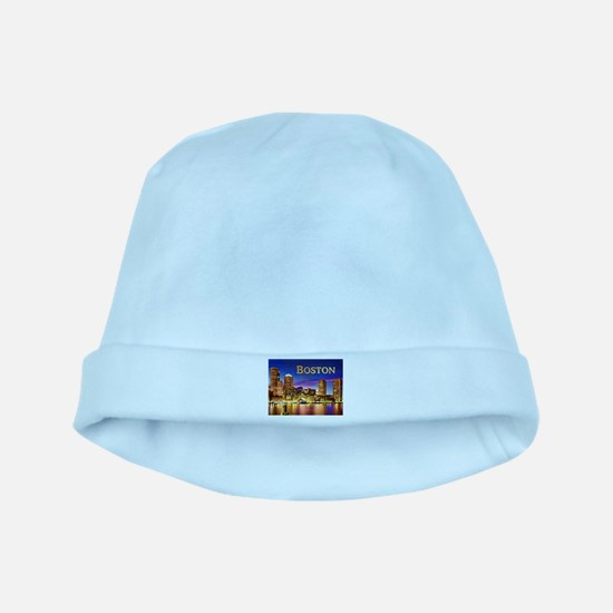 Boston Harbor at Night text BOSTON copy baby hat