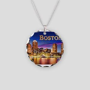 Boston Harbor at Night text Necklace Circle Charm
