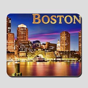 Boston Harbor at Night text BOSTON copy Mousepad