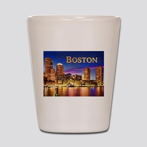 Boston Harbor at Night text BOSTON copy Shot Glass