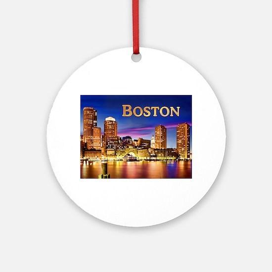 Boston Harbor at Night text BOSTO Ornament (Round)