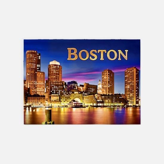 Boston Harbor at Night text BOSTON 5'x7'Area Rug