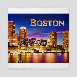 Boston Harbor at Night text BOSTON cop Queen Duvet