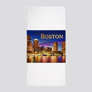 Boston Harbor at Night text BOSTON cop Beach Towel