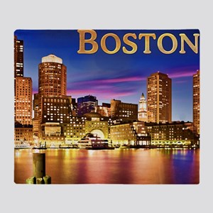 Boston Harbor at Night text BOSTON c Throw Blanket