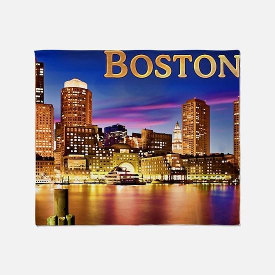 Boston Harbor at Night text BOSTON c Throw Blanket